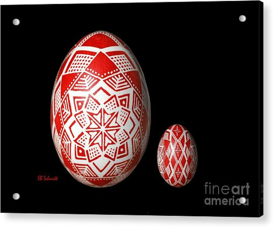Snowflake Lace 1 - Red And White Acrylic Print