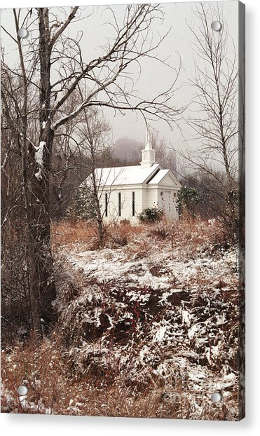 Snowy Chapel In The Wildwood Acrylic Print