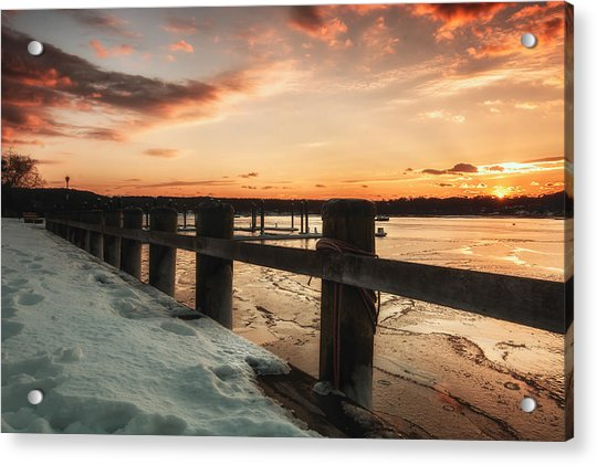Snowy Sunset In Northport New York Acrylic Print