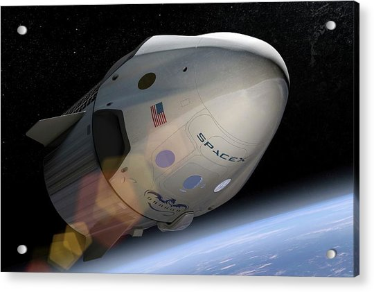 Spacex's Crew Dragon In Orbit Acrylic Print