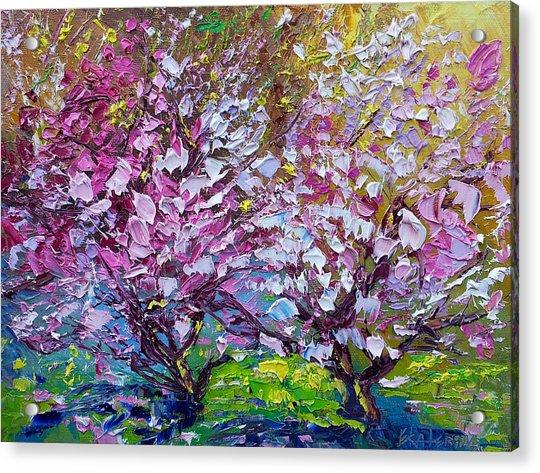 Spring Painting Of Pink Flowers On Magnolia Tree Fine Art By Ekaterina Chernova Acrylic Print