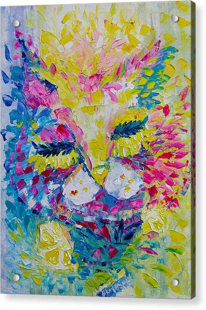 Spring Pink Cat Acrylic Print