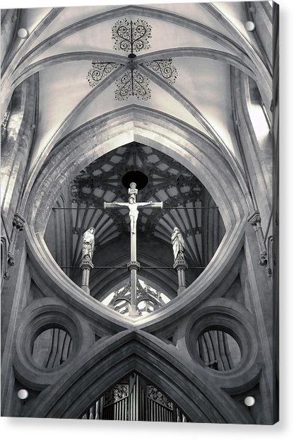 St Andrews Cross Scissor Arches Of Wells Cathedral  Acrylic Print