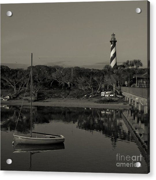 St. Augustine Lighthouse Beach Early Morning Monochrome Acrylic Print