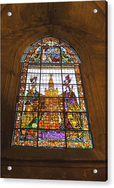 Stained Glass Window In Seville Cathedral Acrylic Print