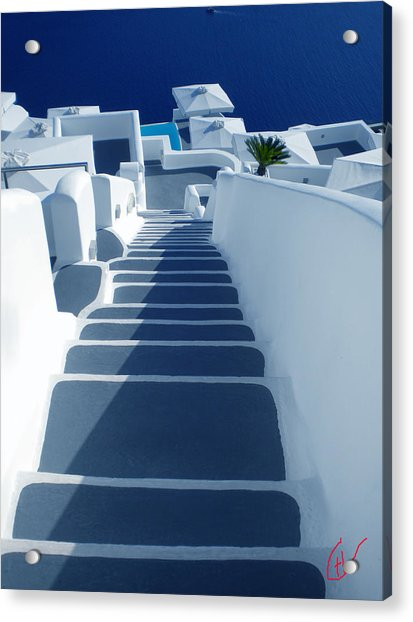 Acrylic Print featuring the photograph Stairs Down To Ocean Santorini by Colette V Hera  Guggenheim