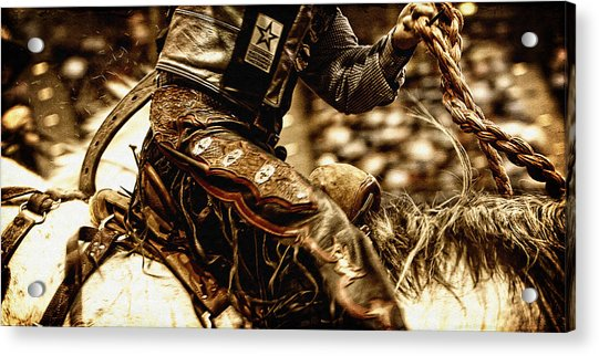 Staying In The Saddle Acrylic Print by Lincoln Rogers
