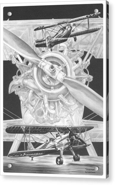 Stearman - Vintage Biplane Aviation Art Acrylic Print