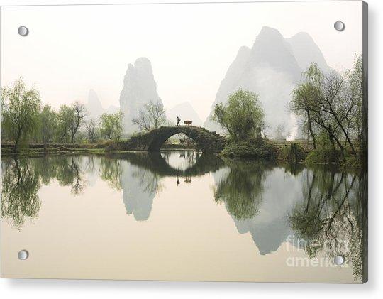 Stone Bridge In Guangxi Province China Acrylic Print