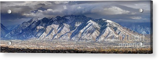 Storm Front Passes Over The Wasatch Mountains And Salt Lake Valley - Utah Acrylic Print