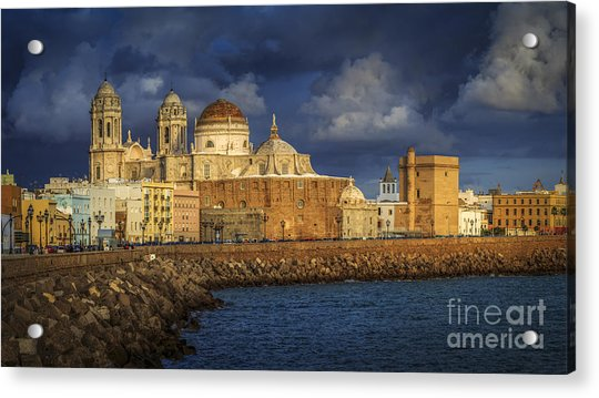 Stormy Skies Over The Cathedral Cadiz Spain Acrylic Print