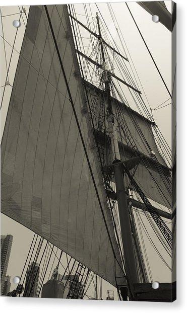 Suare And Triangle Black And White Sepia Acrylic Print