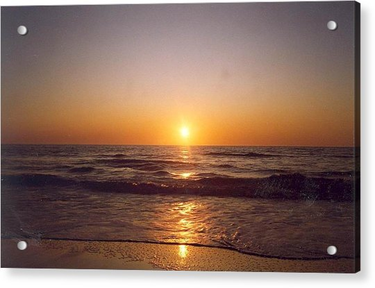 Acrylic Print featuring the photograph Sun Setting At Ocean Beach by Cynthia Marcopulos