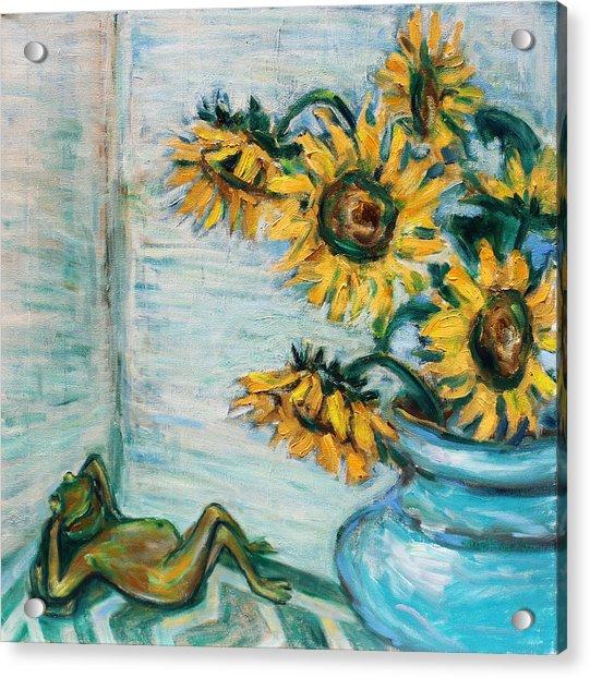 Sunflowers And Frog Acrylic Print