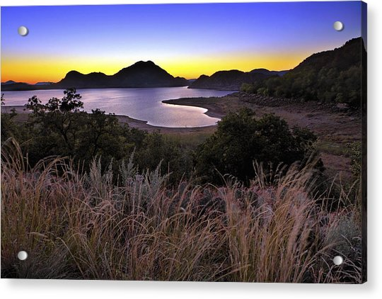 Acrylic Print featuring the photograph Sunrise Behind The Quartz Mountains - Oklahoma - Lake Altus by Jason Politte