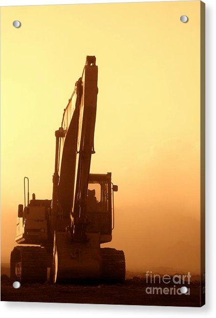 Sunset Excavator Acrylic Print