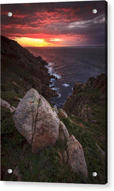 Sunset On Cape Prior Galicia Spain Acrylic Print