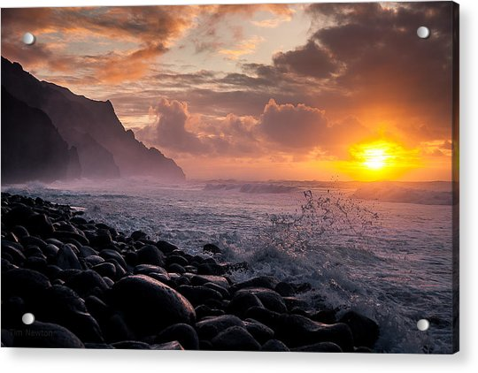 Acrylic Print featuring the photograph Sunset On The Kalalau by Tim Newton