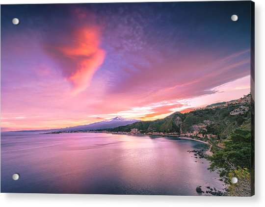 Acrylic Print featuring the photograph Sunset Over Giardini Naxos by Mirko Chessari