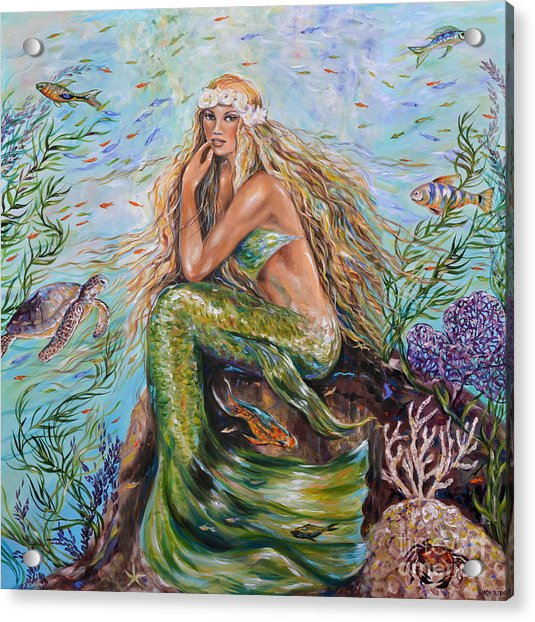 Sunshine Mermaid Square Acrylic Print