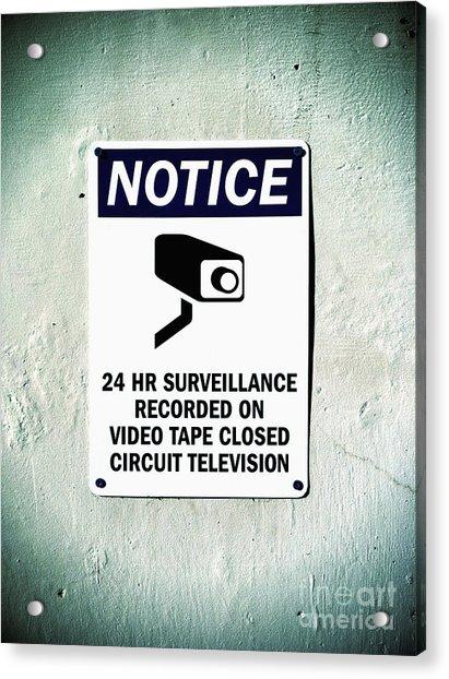 Surveillance Sign On Concrete Wall Acrylic Print