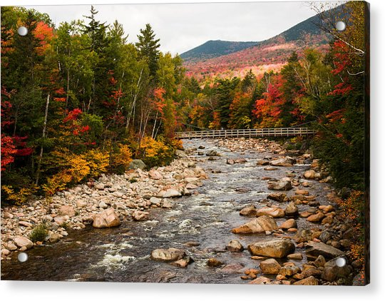 Swift River Painted With Autumns Paint Brush Acrylic Print