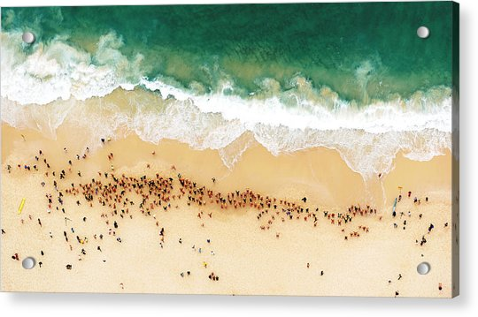 Swimmers Waiting For An Ocean Race To Acrylic Print
