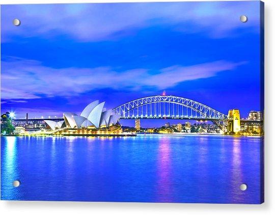 Sydney Harbour Blues Acrylic Print by Az Jackson