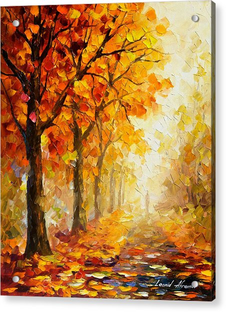 Symbols Of Autumn - Palette Knife Oil Painting On Canvas By Leonid Afremov Acrylic Print