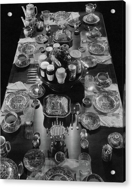 Table Settings On Dining Table Acrylic Print