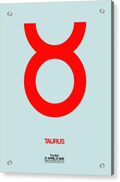 Taurus Zodiac Sign Red Acrylic Print