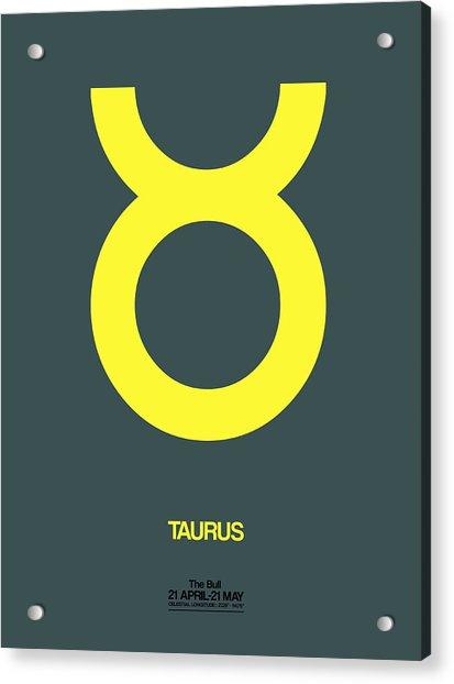 Taurus Zodiac Sign Yellow Acrylic Print