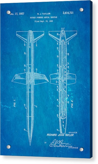 Taylor Rocket Engine Patent Art 1957 Blueprint Acrylic Print by Ian Monk