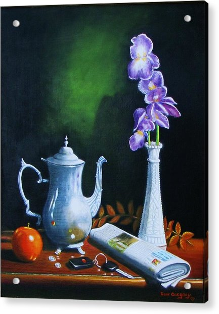 Tea Pot With Iris Acrylic Print