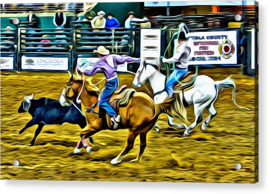 Acrylic Print featuring the photograph Team Ropers by Alice Gipson