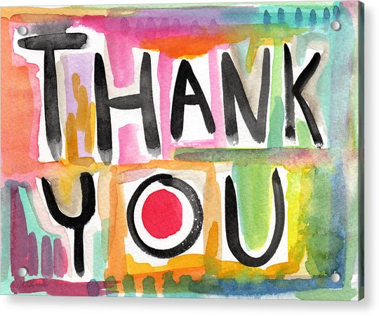 Thank You Card- Watercolor Greeting Card Acrylic Print