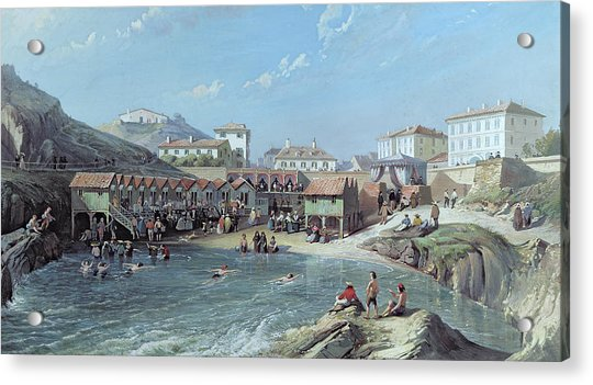 The Beginning Of Sea Swimming In The Old Port Of Biarritz  Acrylic Print