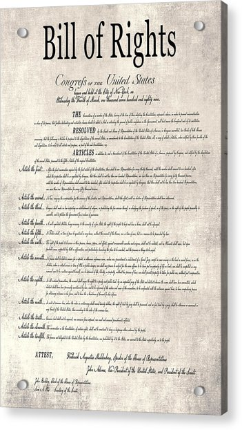 The Bill Of Rights Parchment Acrylic Print