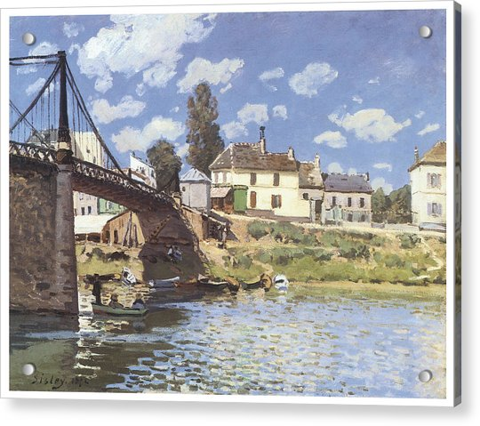 The bridge at villeneuve la garenne painting by alfred sisley - Horaire piscine villeneuve la garenne ...