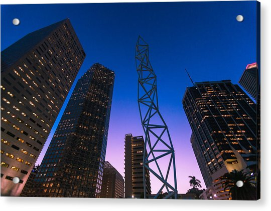The Challenger Monument - Downtown Miami Acrylic Print by Dan Vidal