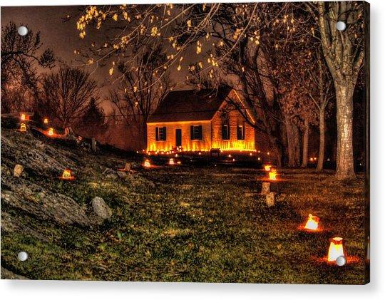 The Dunker Church 'n Flames-a1 - Antietam National Battlefield Memorial Illumination Acrylic Print