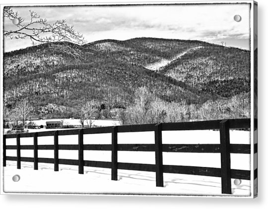 Acrylic Print featuring the photograph The Fenceline B W by Jemmy Archer