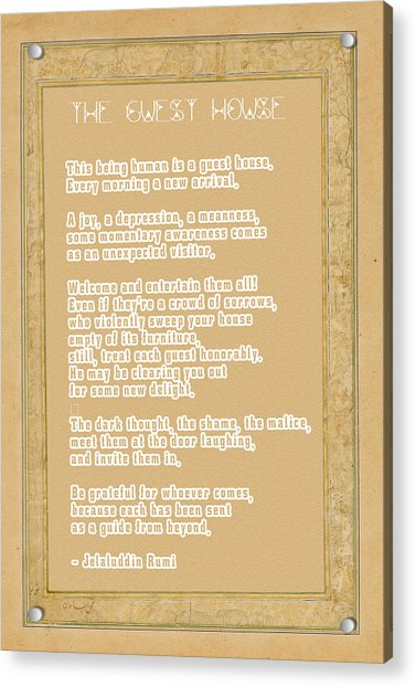The Guest House Poem By Rumi Acrylic Print