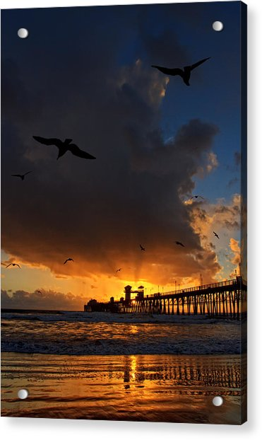 The Jutting Pier At Sundown  Acrylic Print by Donna Pagakis