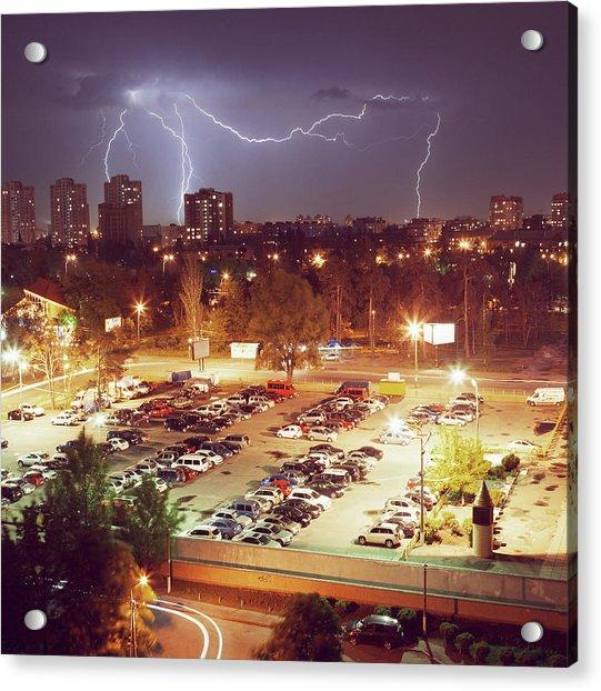 The Lightning In A Night City Acrylic Print