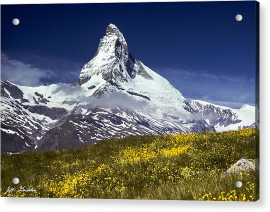 The Matterhorn With Alpine Meadow In Foreground Acrylic Print