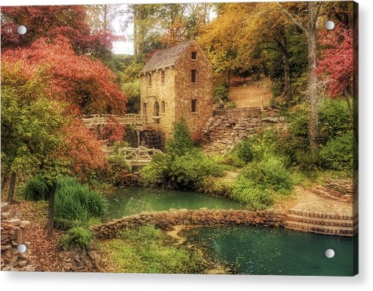 Acrylic Print featuring the photograph The Old Mill In Autumn - Arkansas - North Little Rock by Jason Politte