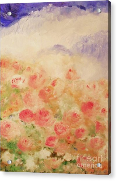 Acrylic Print featuring the painting The Rose Bush by Laurie Lundquist