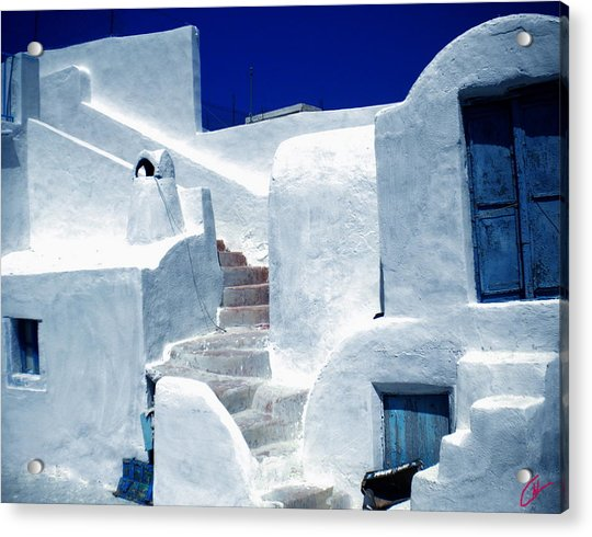 Acrylic Print featuring the photograph Thirasia Island Ancient House Near Santorini Greece by Colette V Hera  Guggenheim