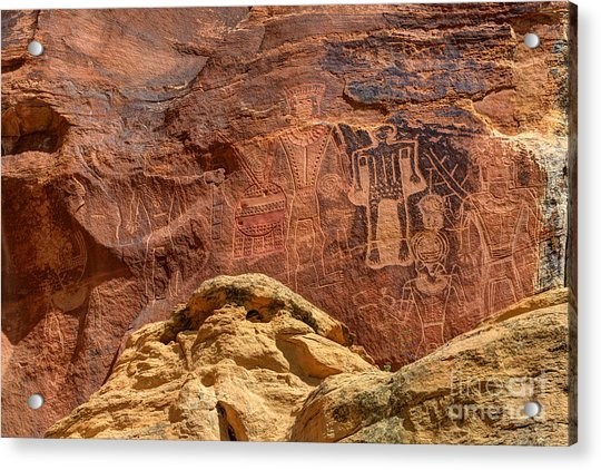 Three Kings Petroglyph - Mcconkie Ranch - Utah Acrylic Print